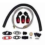Turbo Charger Oil Drain Return + T3 T4 T04E T60 T61 T71 Feed Line Complete Kit