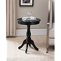 Kings Brand Furniture Black Finish Wood Round Pedestal Side Accent Table