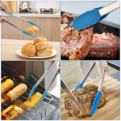 Kitchen Tongs with Silicone Tip, 12-inch ,9-inch and 7-inch Stainless-Stee Multi-functional Gripper for Cooking, Barbecue, Salad, Grilling, Frying, Set of 3 (Blue)