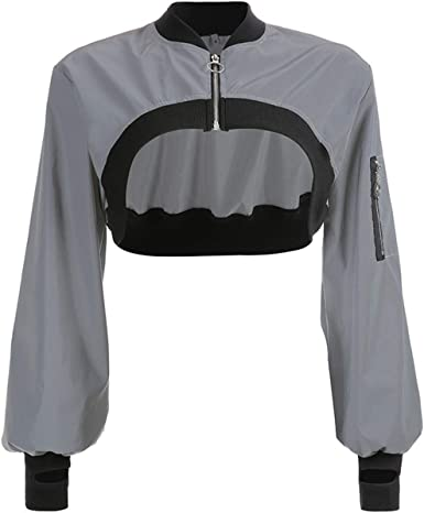 Reflective Puffer Jacket women/'s festival clothing rave top women/'s top Festival top