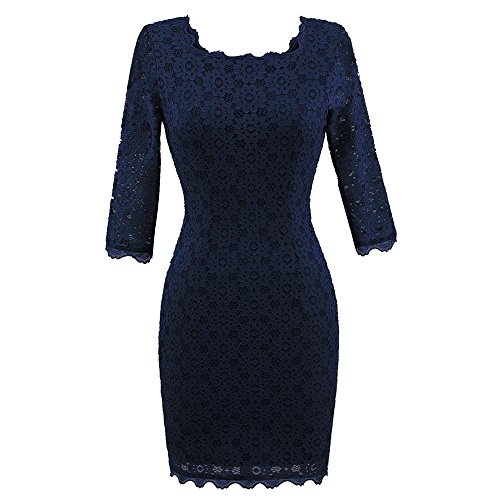 Price comparison product image Women Long Dress Daoroka Women's Sexy Autumn New Vintage Lace Three Quarte Sleeve Formal Patchwork Wedding Dress Cocktail Retro Swing Evening Party Skirt Gift Fit Pencil Dress (S,  Navy)