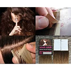"""20 Pcs X 18"""" inches Remy Seamless Tape Skin weft Human Hair Extensions Color # 6 Light Brown"""