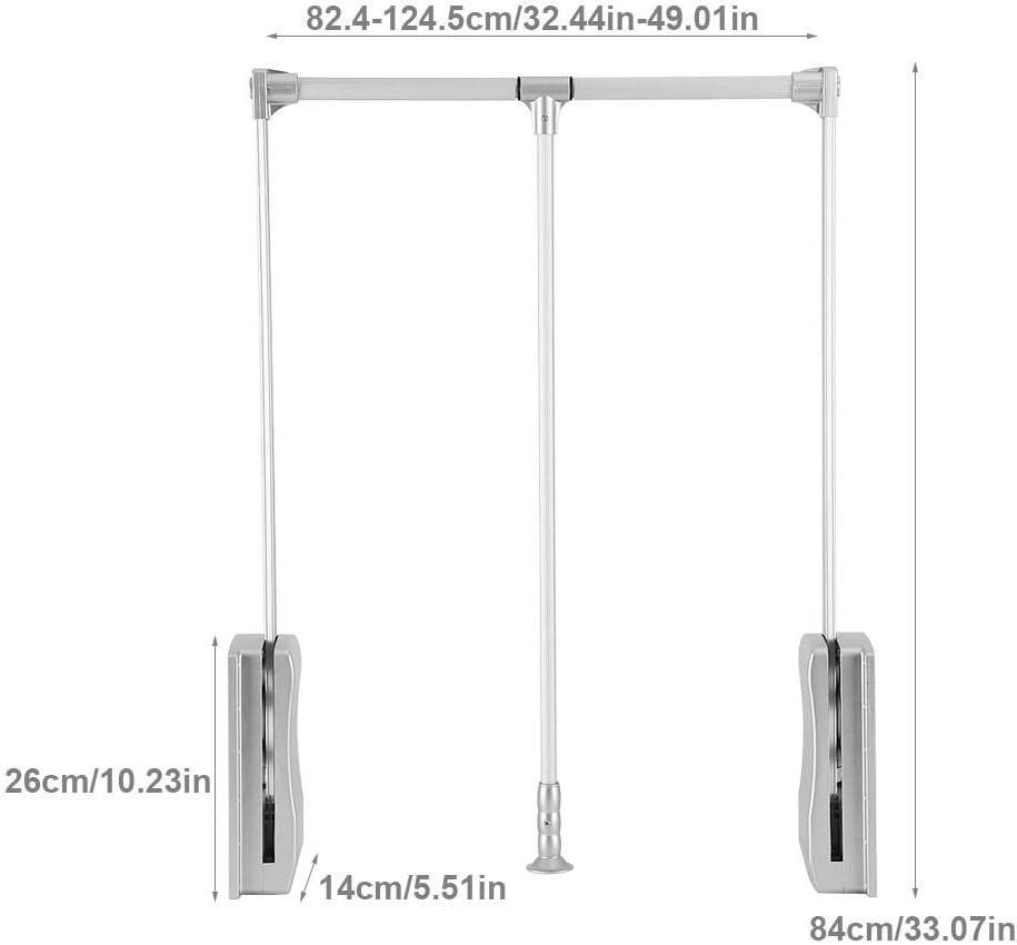 90~122cm Espacio Ahorro Barra de Colgar Ropa para Armario con Capacidad de Ascensor Tirar hacia Abajo y Volver Suavemente Anchura Ajustble