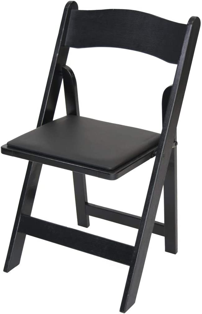 Rhino Series Wood Folding Chair (4 Pack) - Garden & Indoor/Outdoor Use - Perfect for Events, Weddings and Party Rentals - Durable, Storable, and Lightweight (Black)