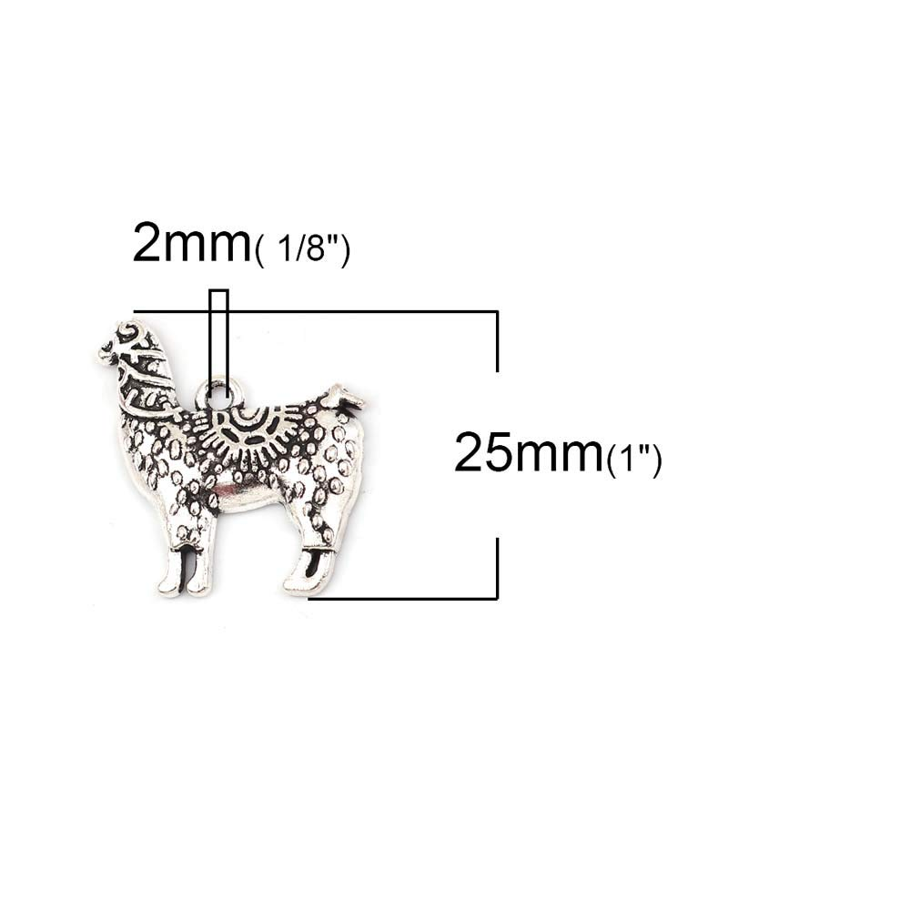 Souarts Set 20Pcs Pendentifs Breloques en Alliage de Zinc Alpaca Animal Argent Vieilli 25mmx24mm