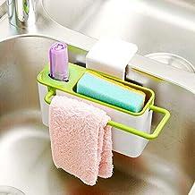Sponge Scrubber Brush Holder Drainer,Plastic Storage Dry Rack Basket,Suction Sink Corner Organizer for Cleaning Utensils,Dish Soap Towel Shelving Rag Caddy Storage,Dewatering Rack for Kitchen Supplies
