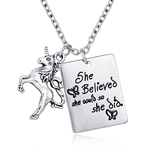 AFAFKAKA Plated Silver Alloy Unicorn Necklace Pendant Charms Chain for Females Gifts- She Believed She Could So She Did Life is Magical Unicorn Necklace