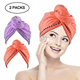 Miracu 2 Pack Hair Drying Towels, Quick Dry Ultra Absorbent Microfiber Hair Towel Turban Wrap Shower Head Towel for Women, Girls and Children