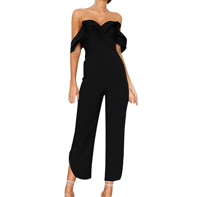 817c5906af9b15 YunYoud Damen Overall Frau Urlaub Off Shoulder Kurzarm Sommer Strand  Bodysuit Playsuits Frauen Sommer Jumpsuit Elegant