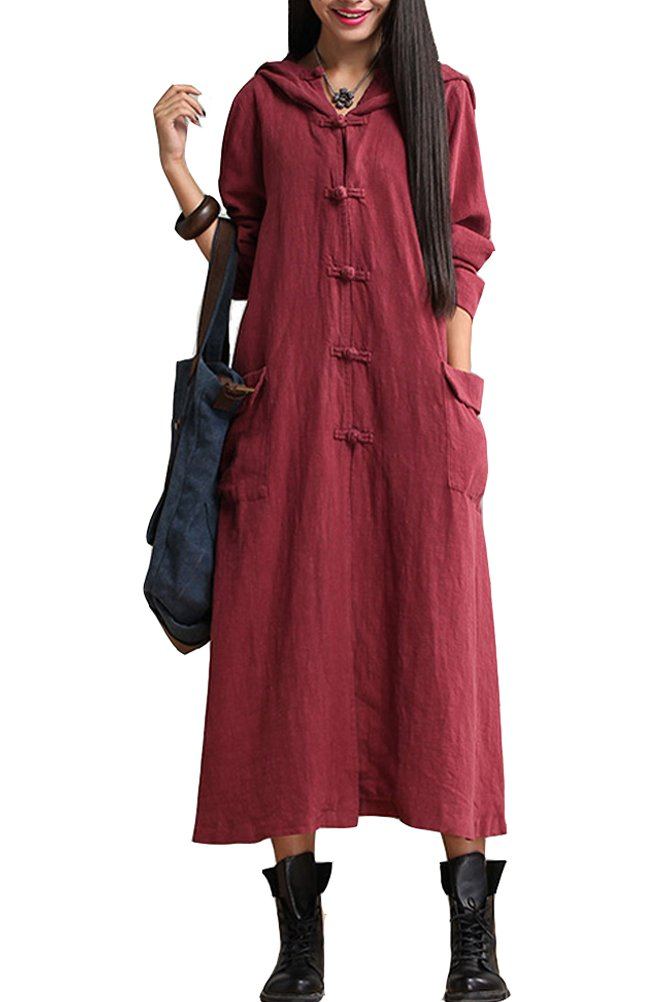 Mordenmiss Women's Long Sleeve Hooded Frog Button Coat with Two Pockets Style 3 M Burgundy