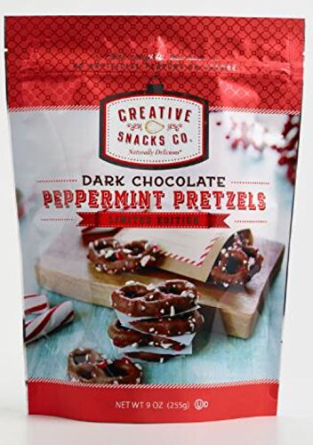 Creative Snacks Co. Dark Chocolate Peppermint Pretzels Holidays Limited Edition 9 oz. Resealable Bag