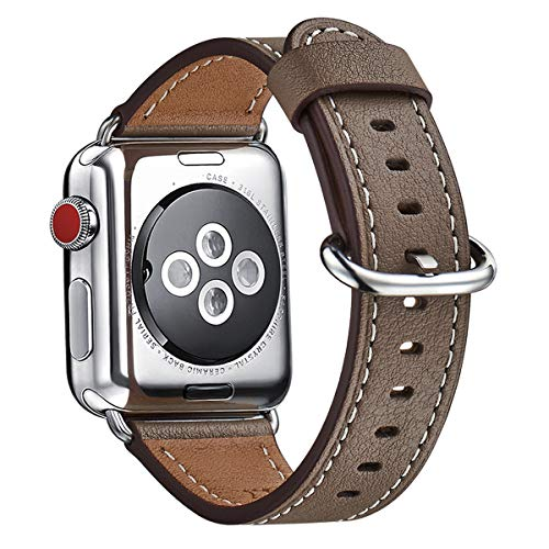 WFEAGL Compatible iWatch Band 38mm 40mm, Top Grain Leather Band Replacement Strap for iWatch Series 3,Series 2,Series 1,Sport, Edition (Coffee Band+Silver Adapter, 38mm 40mm)