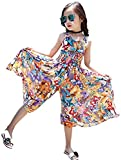 Soojun Girls Classy Boho Style Wide Leg Dressy Jumpsuits, Multicolor, height 125-130cm/Tag 130