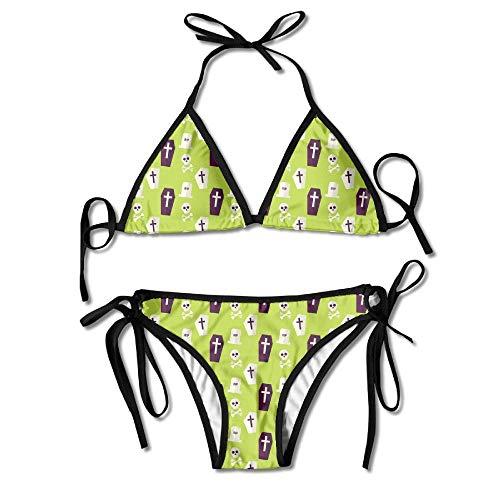Women's Sexy Bikini Set Flat Seamless Death Halloween Custom Tie 2 Piece Bikini Suits Pushed Up Bathing Swimwear -