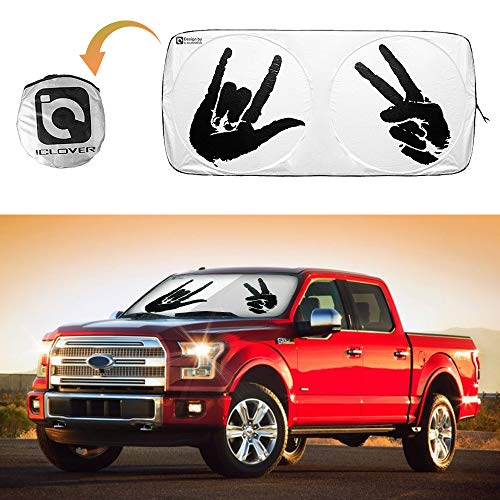 IC ICLOVER Car Windshield Sun Shade, Auto Front Window Sunshade with Special Design for Hip-Hop Fans Peace & Love - Block UV Rays and Keep Your Vehicle Cool, 59 x 33 Inches Universial for Most Cars