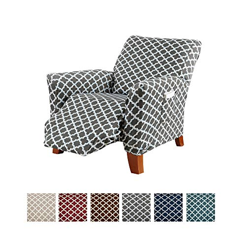 Printed Stretch Recliner Furniture Cover Slipcover Brenna Collection, Charcoal