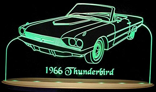 ValleyDesignsND 1966 Tbird Thunderbird Convertible Acrylic Lighted Edge Lit LED Sign Awesome 21