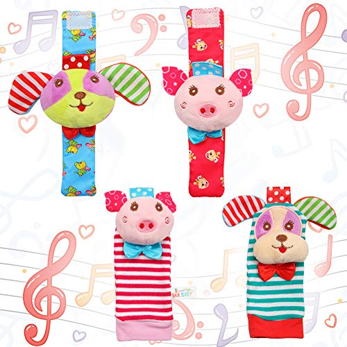 (Acekid Baby Foot Rattle,4pcs Wrist Rattle and Socks Toys Set Toddler Soft Animal Toys Pig and Dog)