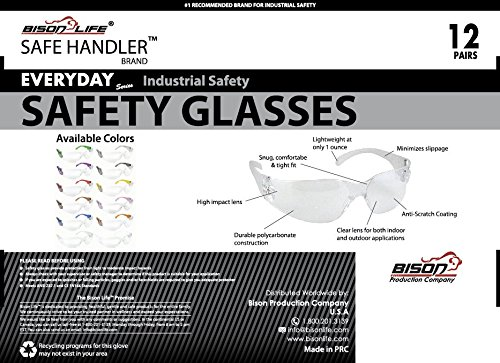 BISON LIFE Safety Glasses, One Size, Clear Polycarbonate Lens, 12 per Box (1 box) by BISON LIFE (Image #4)