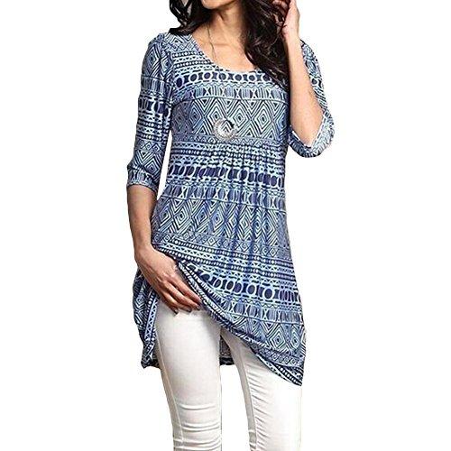 T Taille Chemisier Tunique Imprimer Grande Femmes 5XL Floral Hibote Lache Bleu 4 3 Manches Shirt Casual Long S z7CUUHOqfg