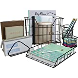 Sorbus Desk Organizer Set , 5-Piece Desk Accessories Set Includes Pencil Cup Holder, Letter Sorter, Letter Tray, Hanging File Organizer, and Sticky Note holder for Home or Office (Black)
