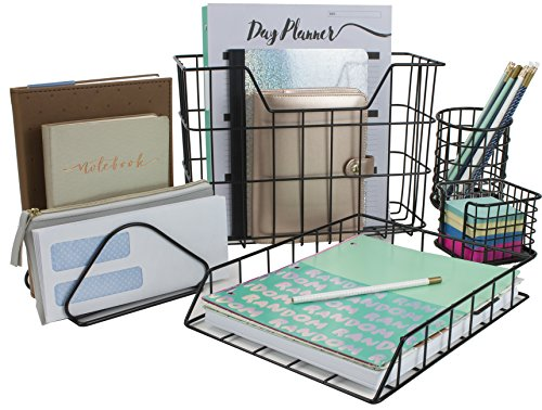 Sorbus Desk Organizer Set, 5-Piece Desk Accessories Set Includes Pencil Cup Holder, Letter Sorter, Letter Tray, Hanging File Organizer, and Sticky Note Holder for Home Or Office ()