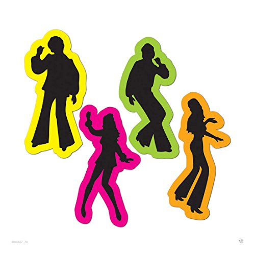 (4) 70s Decade Party Decoration DISCO Saturday Night Fever Cutouts SILHOUETTES -Multicolor (Disco Silhouettes)