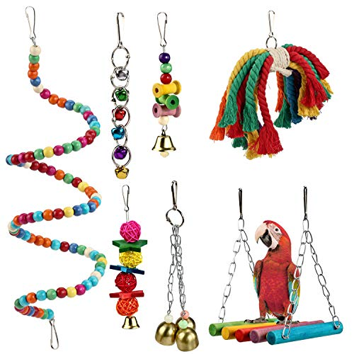 Pidsen 7pcs Colorful Wooden Bird Toy Swing Hammock Suitable for Small Parrots, Macaws, Parakeets, Parrots, Cockatiels, Love Birds and Other Birds (Wooden Swing Hammock)