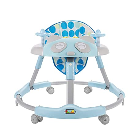 Andador para bebés 6-8-12 Meses 18 Andador Multifuncional antivuelco para bebés Plegable FANJIANI (Color : Azul)