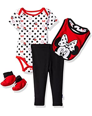 Baby Girls' Minnie Mouse 4-Piece Bodysuit, Pant, Bib, and Bootie Set