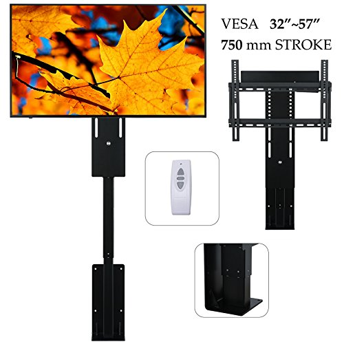"""ULTRA-QUIET Motorized TV Mount Lift for 32""""~57"""" TVs, 4 Level Memory Height with Remote Controller, Fast Lift Speed 1'' per Second (Motorized TV Lift for 32""""~57"""") by Pinty"""