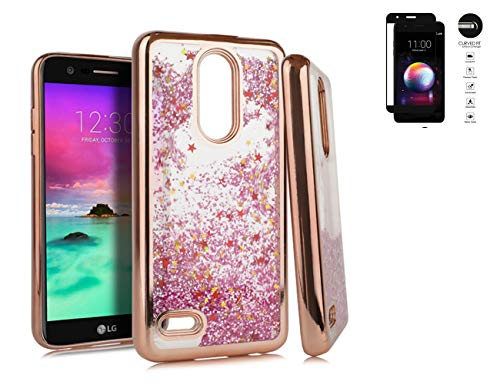 Tempered Glass+Chrome Motion Liquid Quicksand Glitter Case Cover with Image for LG K30 X410 / Premier Pro LTE / K10 (2018) / MS425 Phone (Rose Gold)
