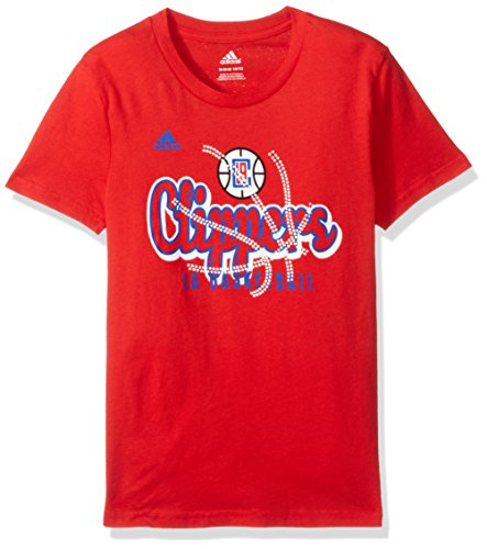 NBA Girls 7-16 Los Angeles Clippers Middle Basketball Short Sleeve Tee-Red-M(10-12)