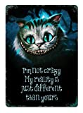 Supvivi I'm not Crazy Cheshire Cat Iron Sheet Beer Bar Vintage Decoration Sign Metal Rock Roll Wall Sign Funny Retro Plaque Art Crafts Cafe Hanging Artwork Samp Poster Painting 8x12 Inches