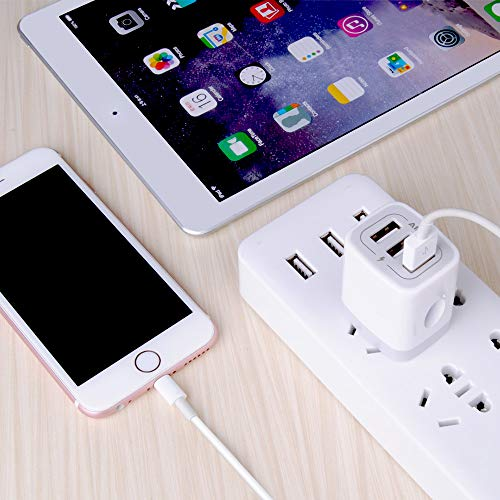 USB Charger Cube, Wall Charger Plug, Ailkin 3.1A 3-Muti Port USB Adapter Power Plug Charging Station Box Base Replacement for iPhone 11 Pro Max/X/8/7, iPad, Samsung Phones and More USB Charging Block