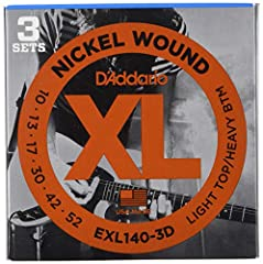 Pursue your passion with D'Addario's bestselling electric guitar set, XL Nickel Wound Electric Guitar Strings. XL's deliver long lasting, legendary, distinctive bright tone and excellent intonation. They are the ideal electric guitar strings ...