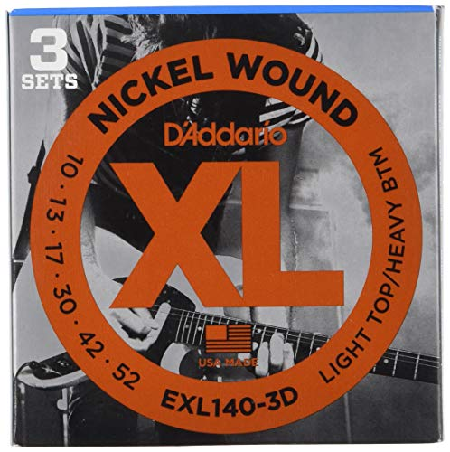 Nickel Heavy Electric Guitar Strings - D'Addario XL Nickel Wound Electric Guitar Strings, Light Top/Heavy Bottom Gauge - Round Wound with Nickel-Plated Steel for Long Lasting Distinctive Bright Tone and Excellent Intonation - 10-52, 25 Sets