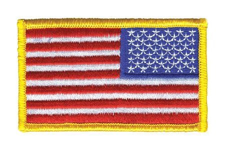 6 Pack - REVERSED American Flag Embroidered Patch, Gold Border USA United States of America, US Army flag Patch, sew on