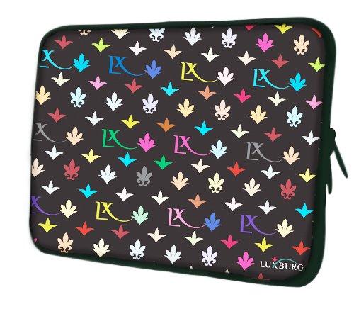 Luxburg® Design Laptoptasche Notebooktasche Sleeve mit Schultergurt und Fach für 17,3 Zoll, Motiv: LX Muster schwarz Laptoptasche 15 Zoll