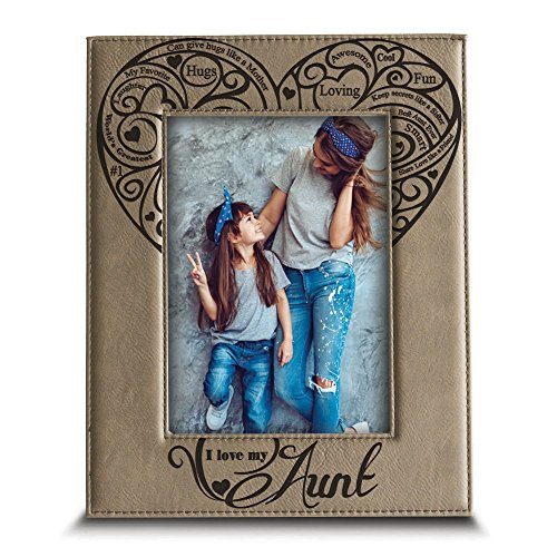 BELLA BUSTA-I Love My Aunt- Engraved Leather Picture Frame- Aunt Gift Auntie Gifts (5