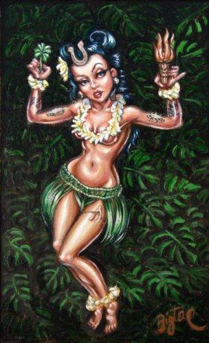 Lucky Hula Girl by Big Toe Tiki Pinup Hawaii Tattoo Canvas Giclee Art Print