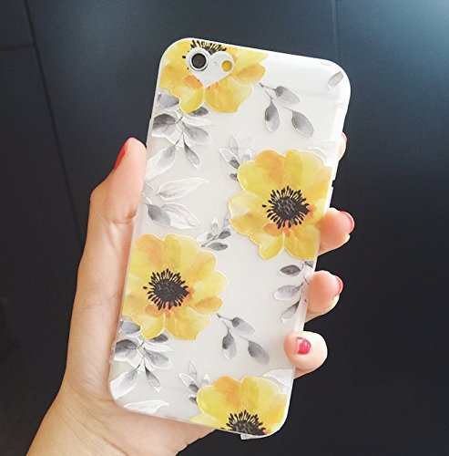 low priced 077a7 c6c85 iPhone 8 Plus Case/iPhone 7 Plus Case(5.5inch),Blingy's Beautiful Flower  Pattern Half Transparent Mate Texture Soft TPU Rubber Protective Case for  ...