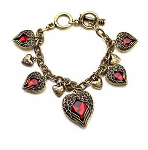 Pinup Retro Bronze Red Heart Bracelet Vintage Palace Angel Wings Adjustable Sizes ()