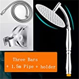 Steel Bathroom Shower Head Overhead Rainshower Duchas Regendouche Kop Adjustable Rain Shower Arm Handheld Chuveir Shower Heads 3 Bars set2