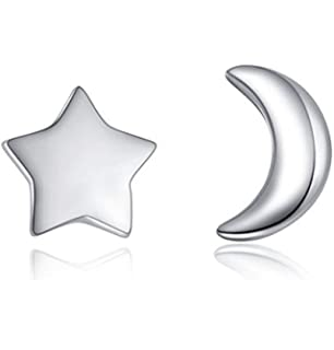 eae7bbc4e2c Aftermarket Moon and Star 925 Sterling Silver Stud Earring Asymmetric Sleep  Earrings