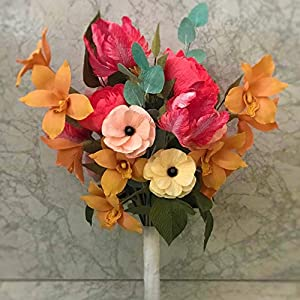 Wedding bouquet of paper flowers with orchids, peonies and parrot tulips 103