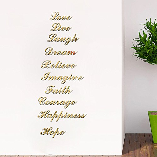 Home Decoration - Acrylic Wall Sticker Mirror Effect Quote Word Letter Art Stair Decals Home Decor Family Vinyl Decorative Bedroom Wallpaper
