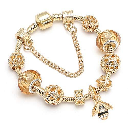 Tea language Blue Heart Charm Bracelets & Bangles Beads Bracelets for Women Jewelry Girlfriend ()