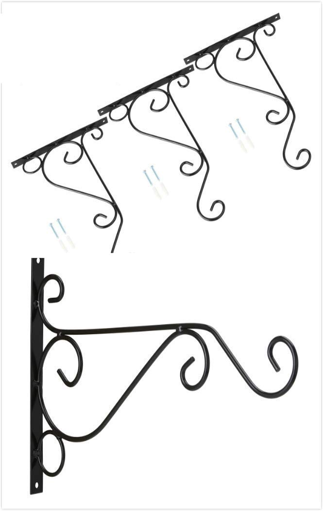 Venfon 3-Pack 10'' Flower Plant Pot Hooks Hangers Outdoor Lawn Iron Bracket For Planter Bird Feeder Lantern Windbell Wind Chimes With Screws (black) by HHXRISE (Image #1)