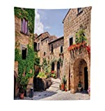 tuscan bedroom furniture Lunarable Tuscany Tapestry, Italian Streets in Countryside with Traditional Brick Houses Old Tuscan Prints, Fabric Wall Hanging Decor for Bedroom Living Room Dorm, 23 W X 28 L inches, Multicolor